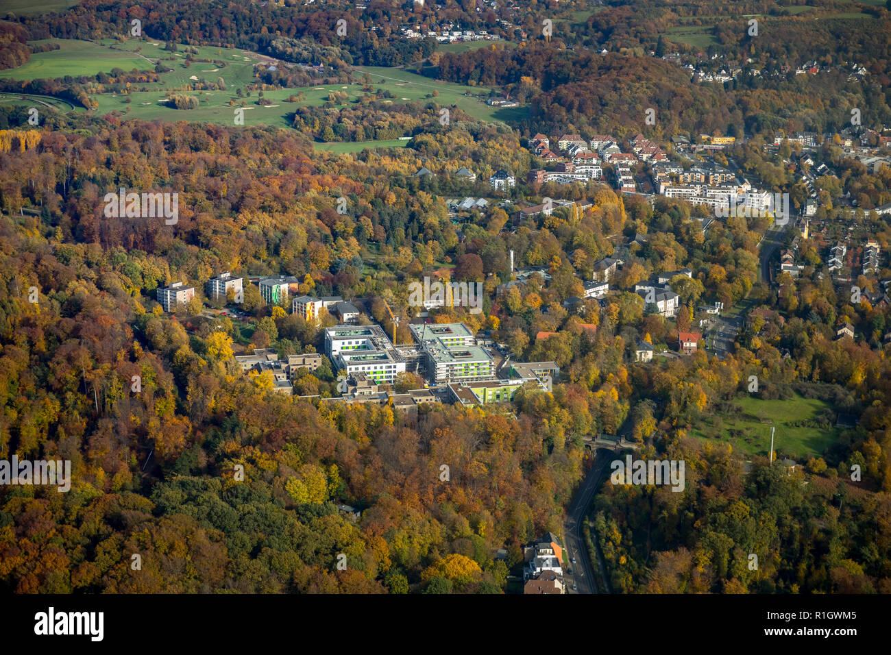 Aerial photo, On the Hardt, LVR Hospital Grafenberg, State Hospital, Hospital, Work and Integration eV, Dusseldorf, Rhineland, North Rhine-Westphalia, - Stock Image