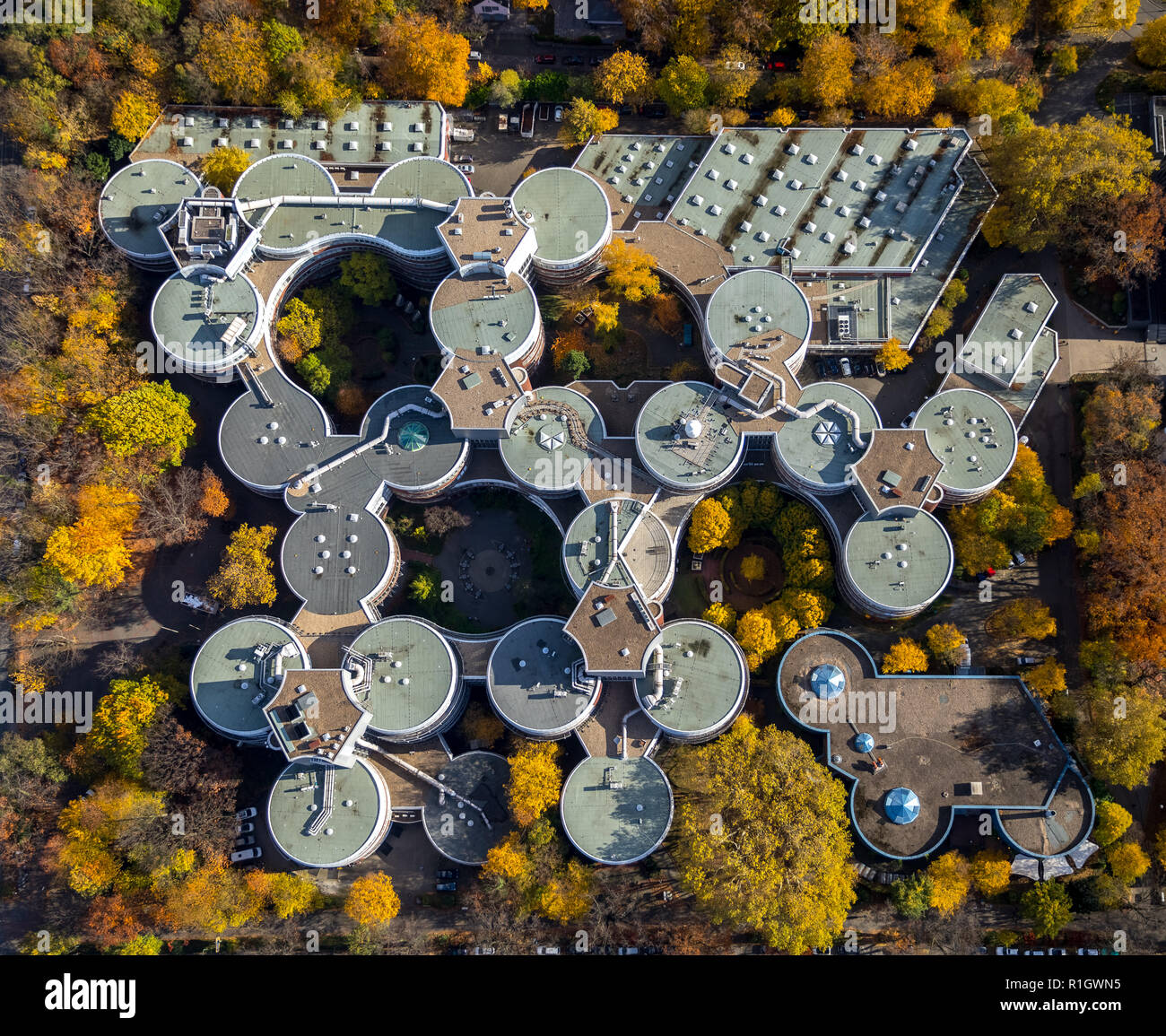 Aerial View, University of Duisburg-Essen - AG Horn-von Hoegen, University of Duisburg-Essen Physics of Transport and Traffic, ZBT GmbH Center for Fue - Stock Image