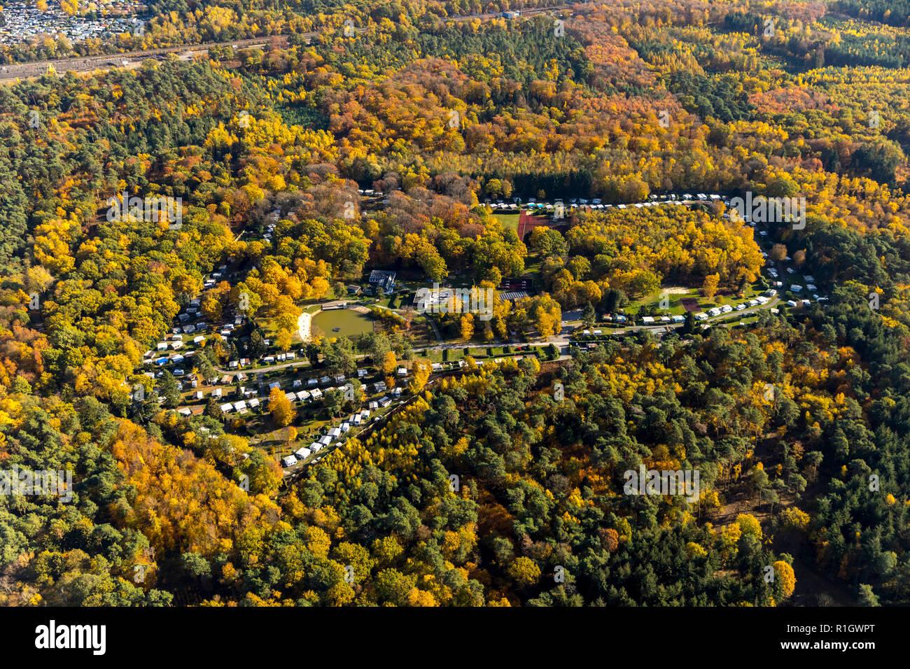 Aerial View, LBN Duisburg, camping, Big Tree, Duisburg, Ruhr, Nordrhein-Westfalen, Germany, DEU, Europe, aerial view, birds-eyes view, aerial photogra - Stock Image