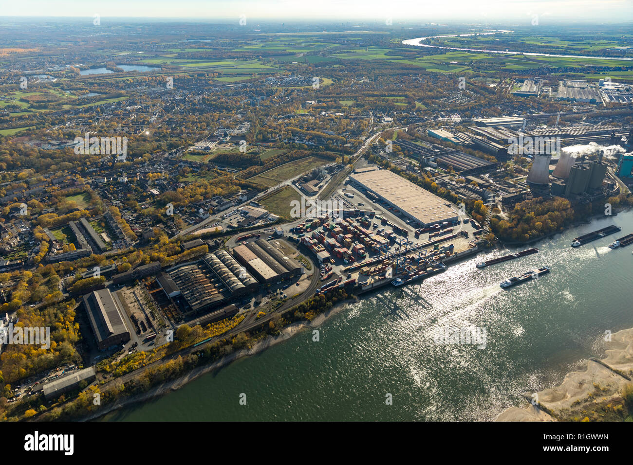 Aerial view, logport II with containers, Rhine, container terminal, container loading, logistics location, Duisport company,, Angerhausen, Duisburg, R - Stock Image