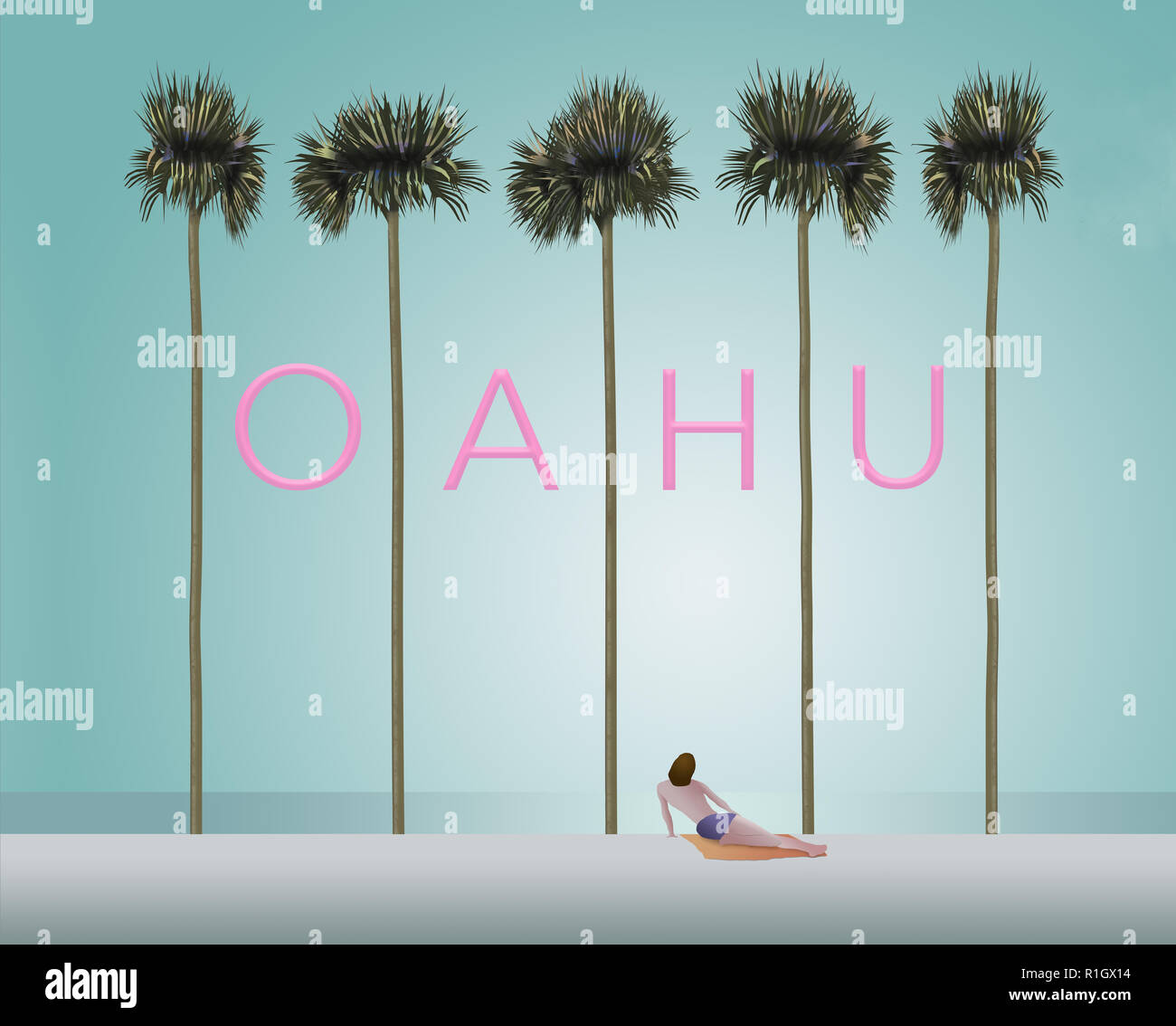 Tall palm trees and a sunbather on a white sand beach set the scene for the vacation destination Oahu. This is an illustration. - Stock Image