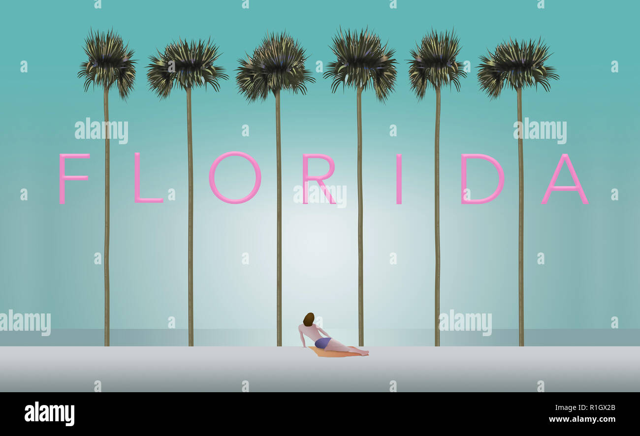 Tall palm trees and a sunbather on a white sand beach set the scene for the vacation destination Florida. This is an illustration. - Stock Image