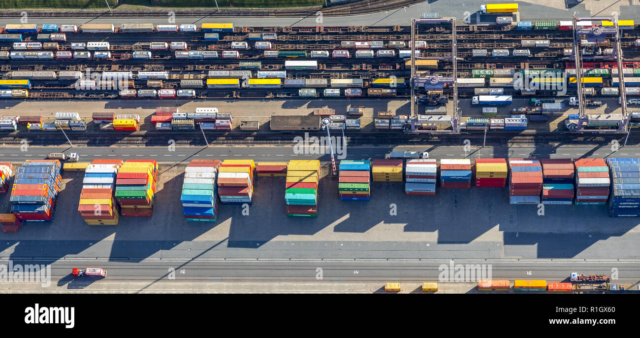 Aerial view, Duisport, Duisburg port, Logistics, Goods transport, Container, Container loading, Goods transfer point, Inland navigation, Kasslerfeld,  - Stock Image