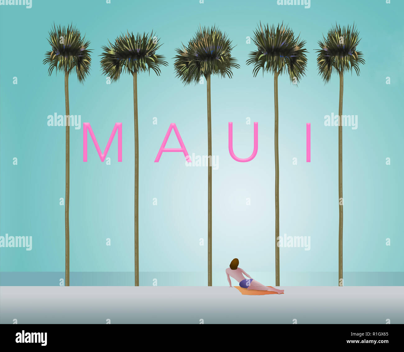 Tall palm trees and a sunbather on a white sand beach set the scene for the vacation destination Maui. This is an illustration. - Stock Image
