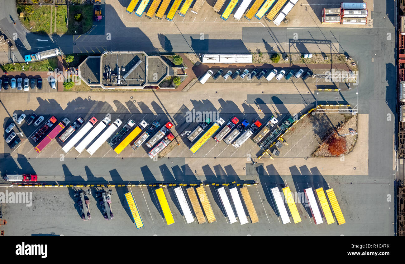 Aerial View, Duisport, Duisburg harbor, logistics, transport, container, container loading, trading center, inland waterways, Kasslerfeld, Duisburg, R - Stock Image