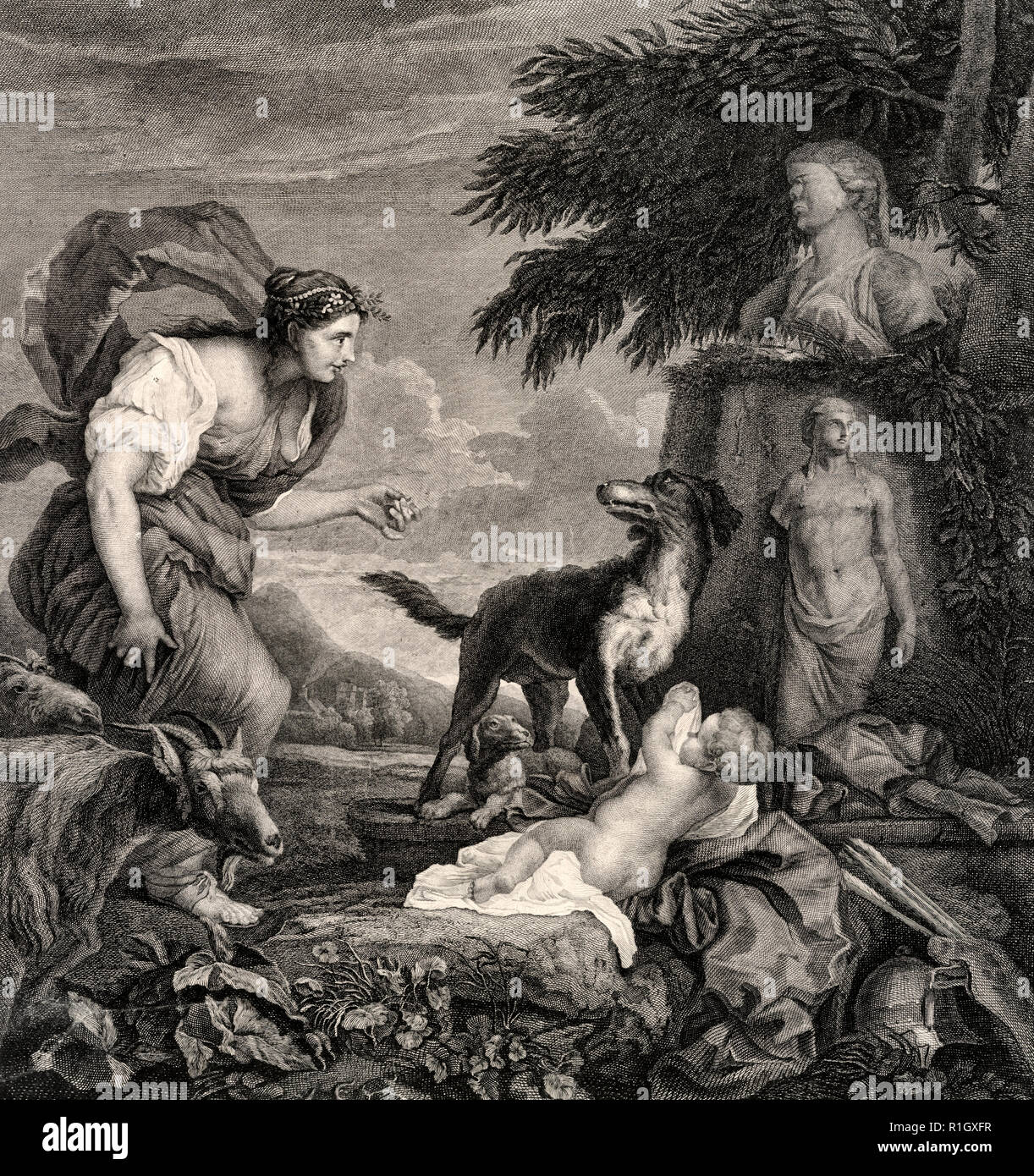 Woman with dogs, infant, and goats in the wilderness - 	Print shows a shepherdess with goats, praising her dog for finding an infant among antique statues and armaments in the wilderness. Includes a remarque at bottom center showing a coat-of-arms, topped with crown, and with two greyhounds standing at the sides. - Stock Image