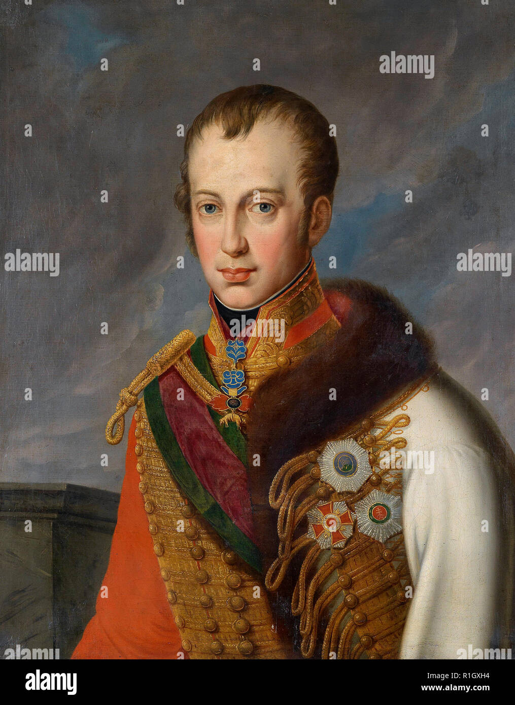 Emperor Ferdinand I of Austria in Hungarian adjustment with decorations, circa 1830 - Stock Image