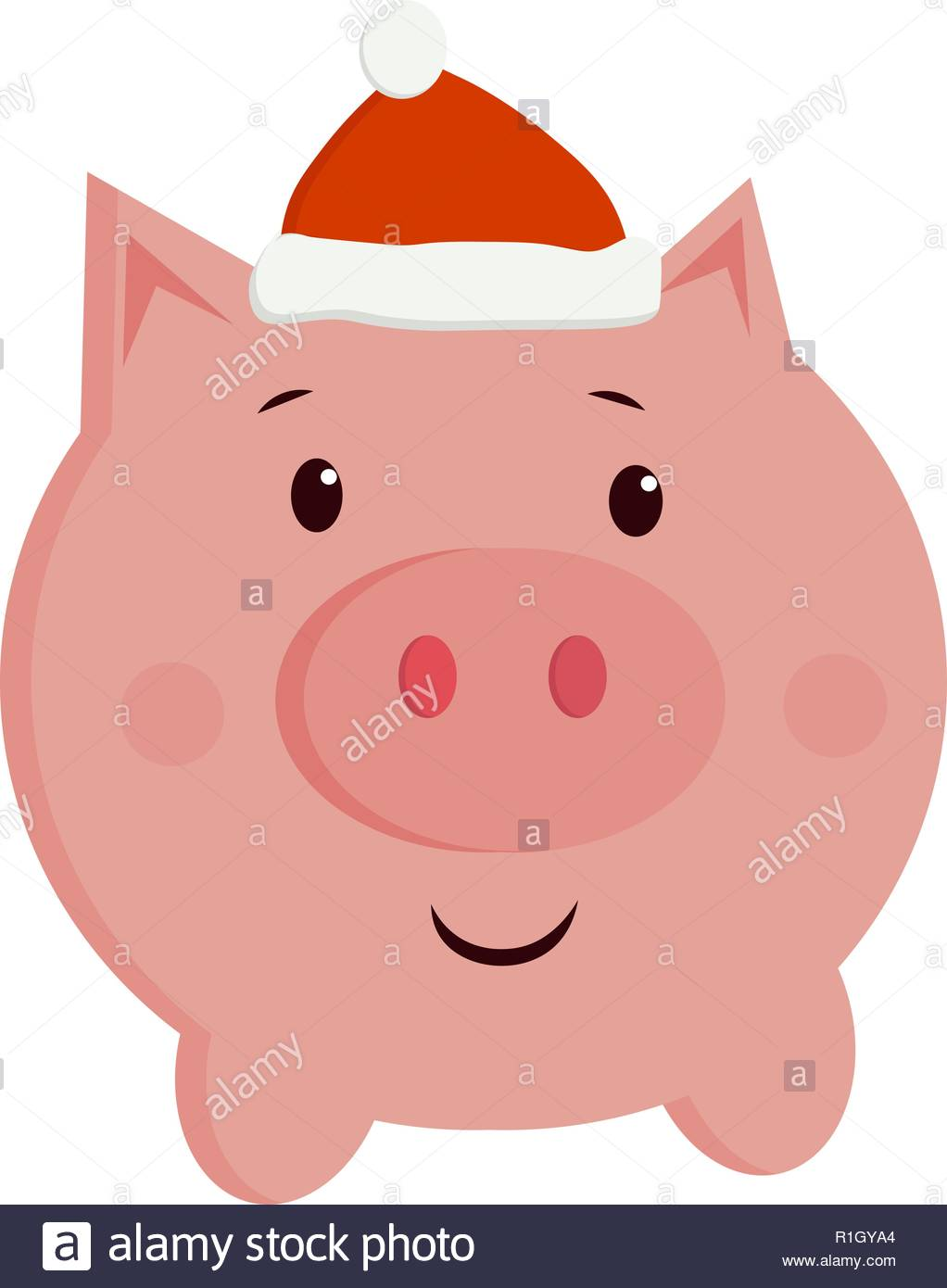 c90d9a9d06526 Christmas cartoon picture 2019. vector cute illustration of a pig in a new  year cap.