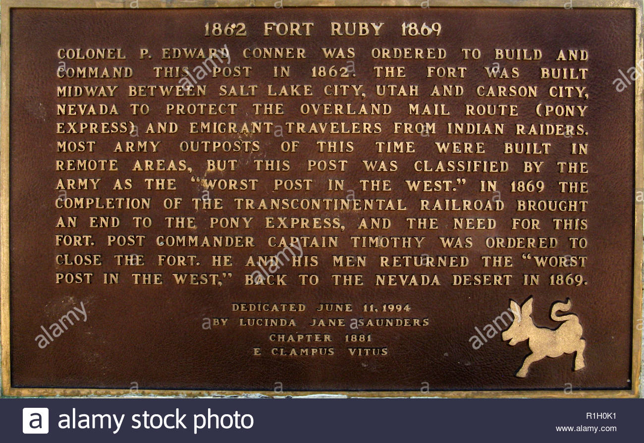 Commemorative Plaque for Fort Ruby,Ruby Lake National Wildlife Refuge, Elko County, Nevada - Stock Image
