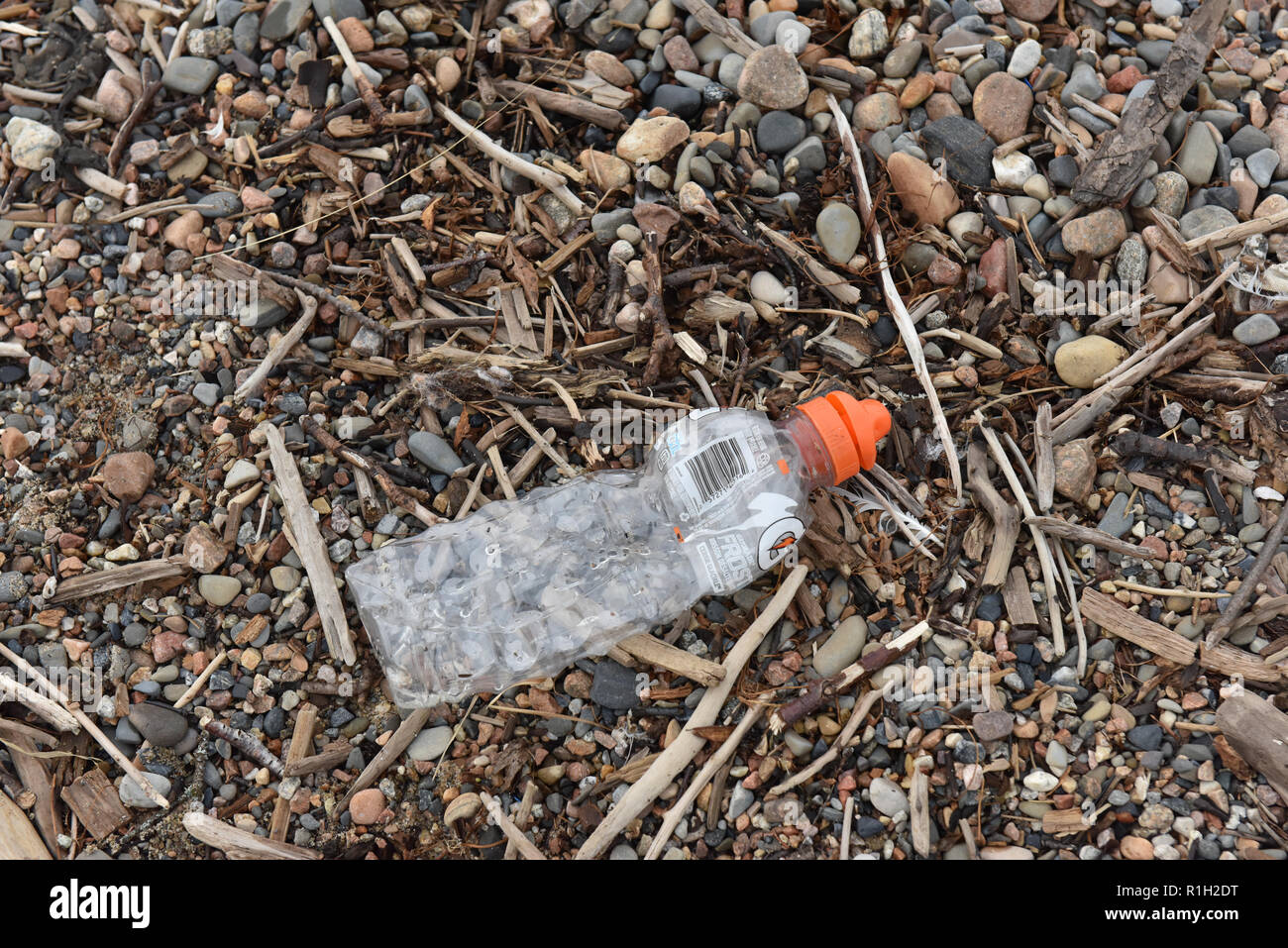 Plastic waste, Northern Quebec , Canada - Stock Image