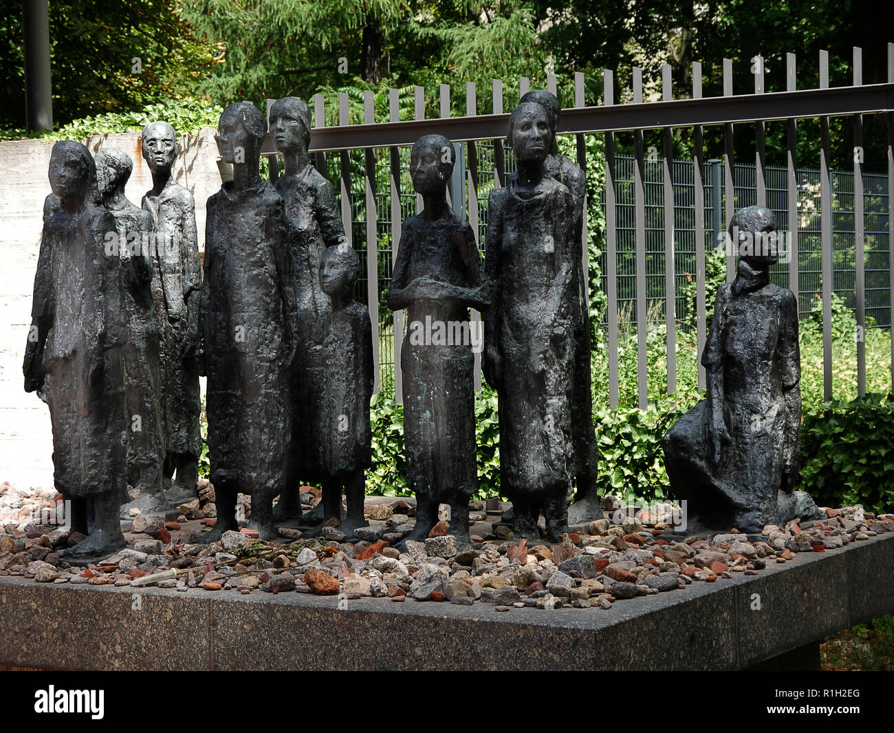 The old cemetery at Hamburger Straße in Berlin,with a monument to the holocaust victims of Berlin in the old Jewish Quarter - Stock Image