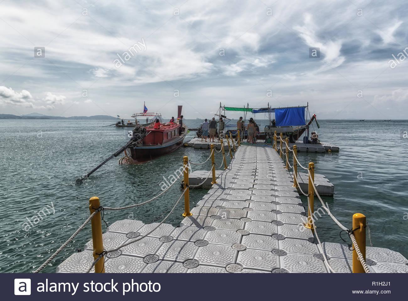 Plastic floating pier at Koh Hong island - Stock Image