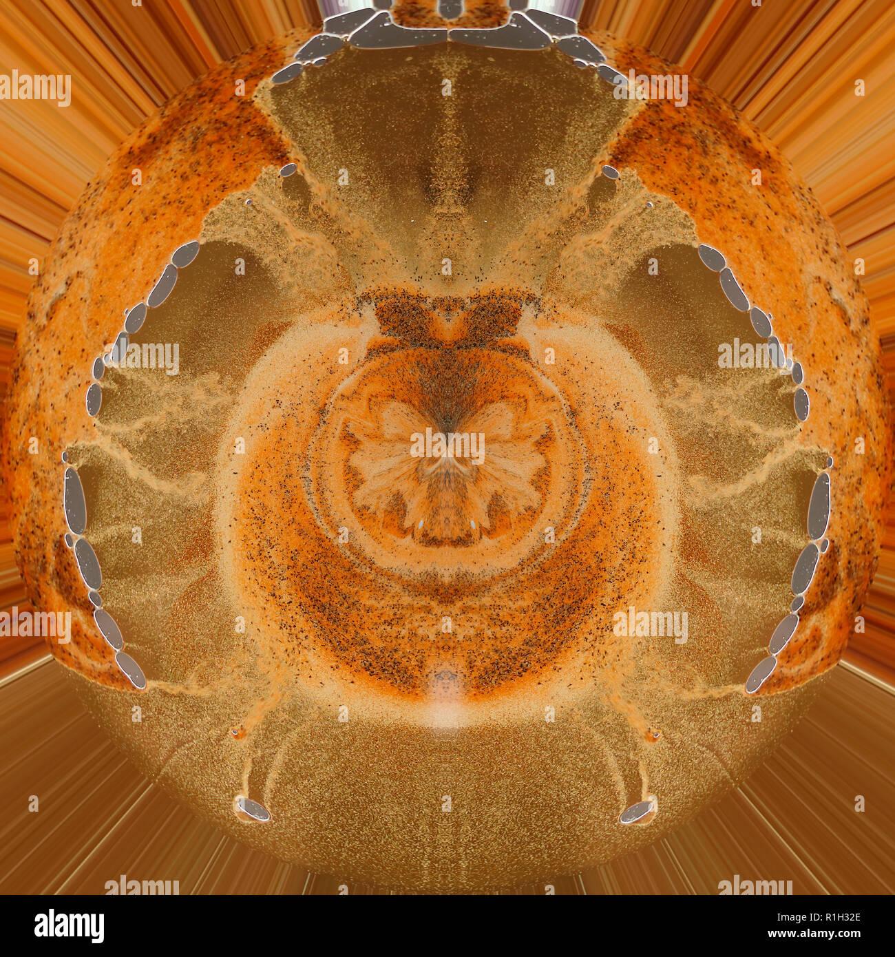 Futuristischer Hintergrund in den Farben Orange, gelb, ocker, sieht aus wie ein Scarabäus Käfer - Stock Image