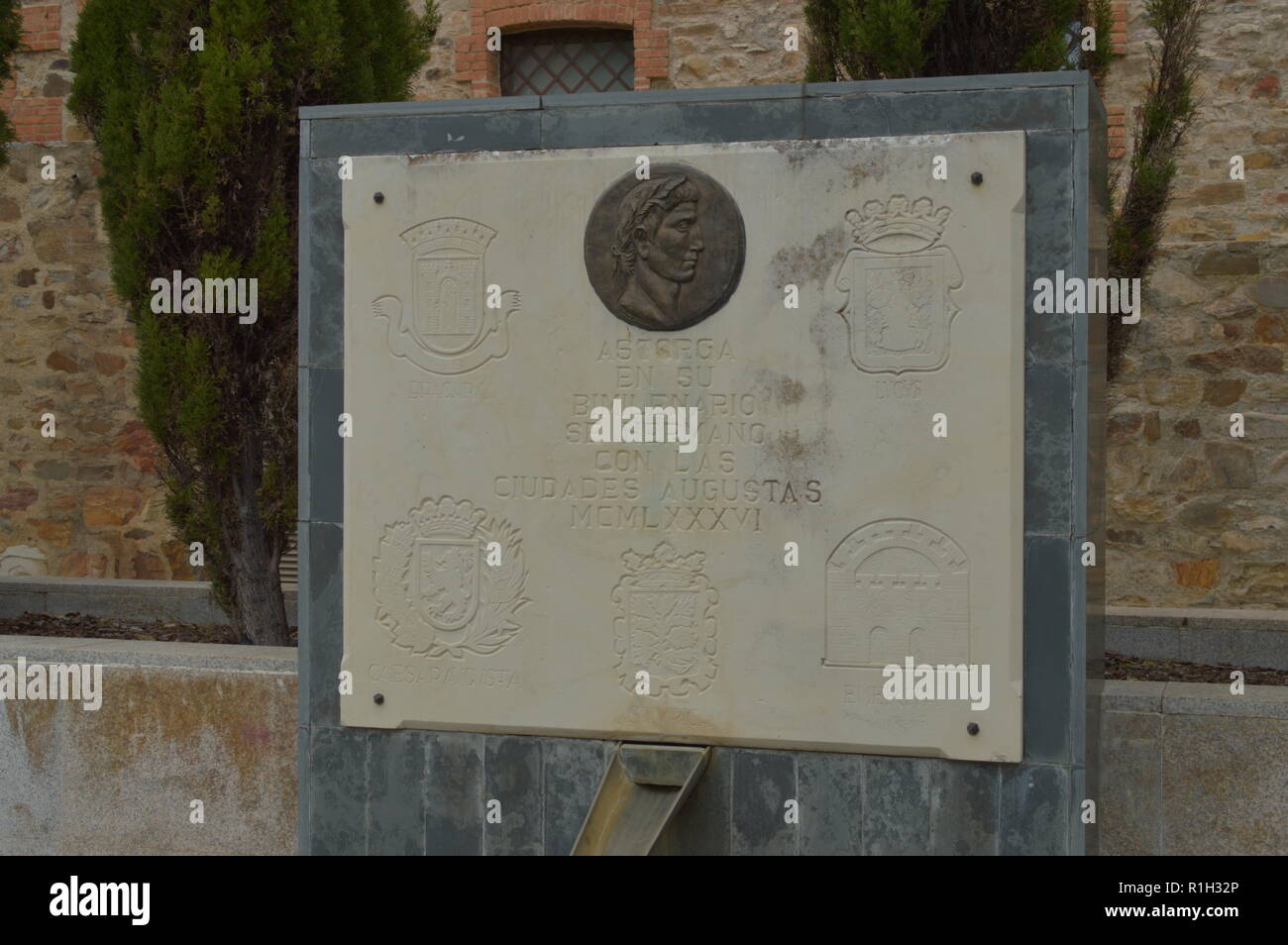 Monument To His Two Thousand Year With The Shields Of His Twin Cities Augustas On A Cloudy Day In Astorga. Architecture, History, Camino De Santiago,  - Stock Image