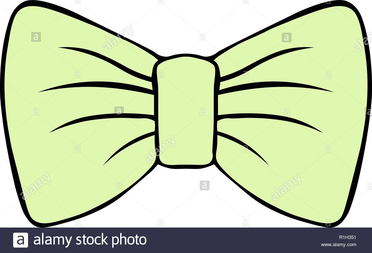 children's illustration of bow isolated on white background.. costume butterfly pastel green vector drawing with contour .gentle decor. - Stock Vector