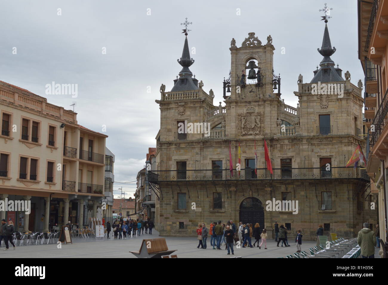 Main Facade Of The Town Hall And Main Square On A Cloudy Day In Astorga. Architecture, History, Camino De Santiago, Travel. November 1, 2018. Astorga, Stock Photo