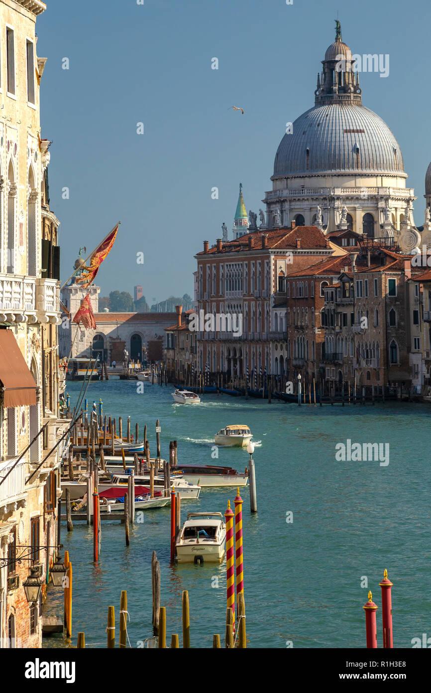 The Grand canal and the Basillica of Santa Maria della Salute viewed from Academia bridge in Venice - Stock Image