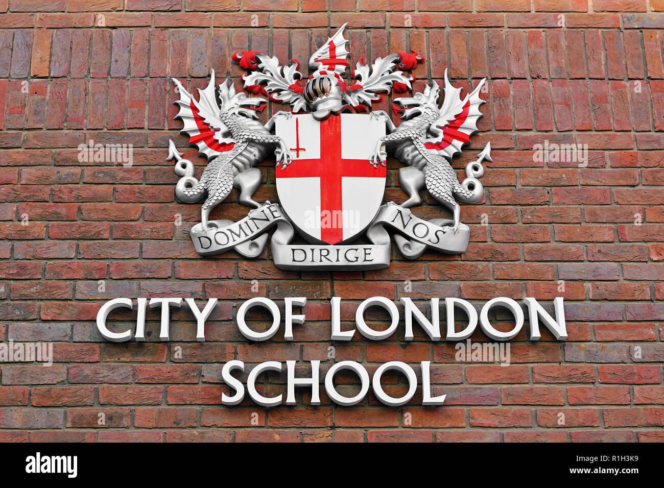 City of London School Sign, London, England, United Kingdom - Stock Image