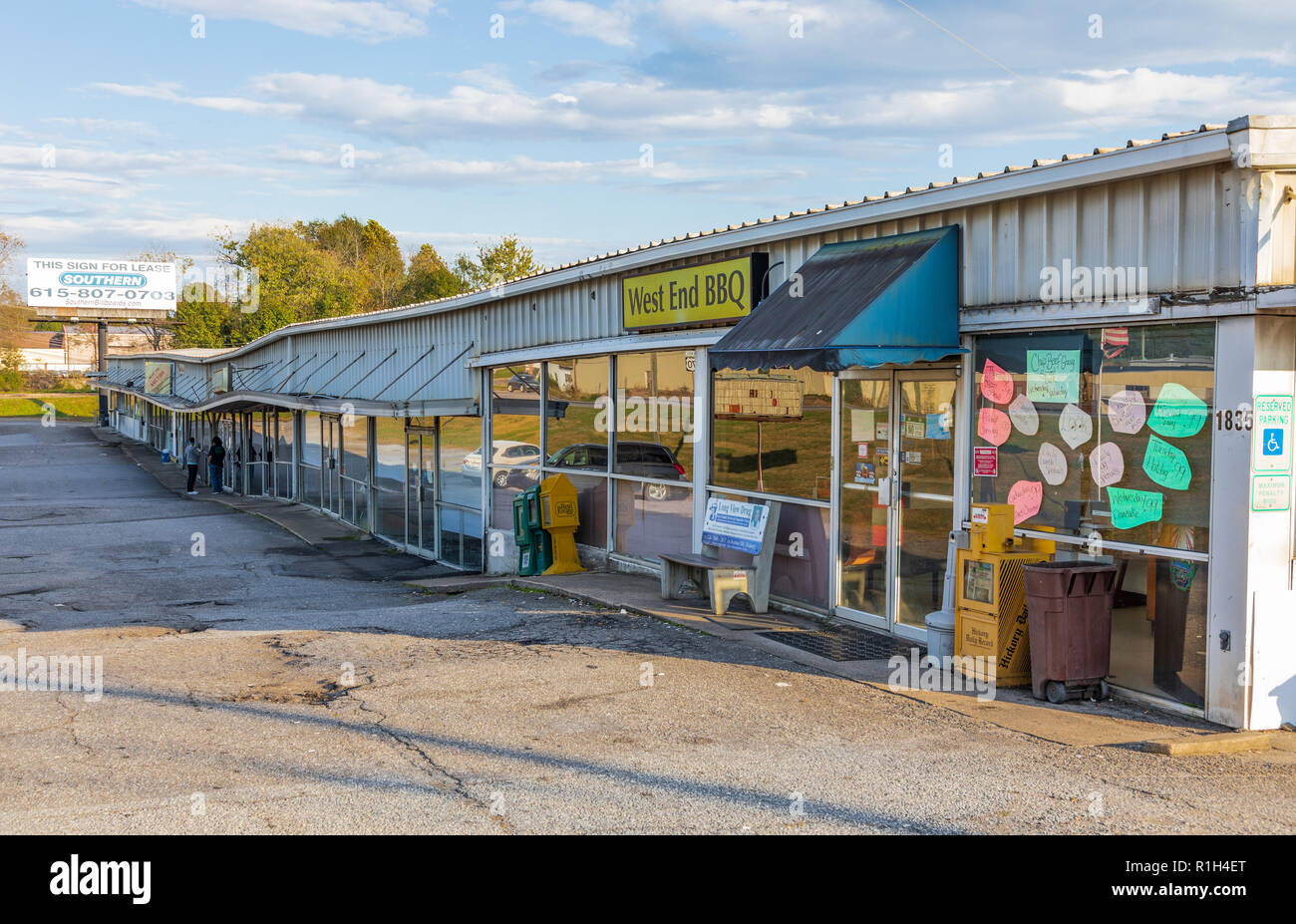 HICKORY, NC, USA-10/28/18: An old strip mall that's experienced significant settling of the foundation. - Stock Image