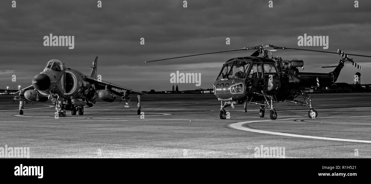 Royal Navy Sea Harrier  FA2, ZH801 , 001, and Wasp XT420/606 Stock Photo
