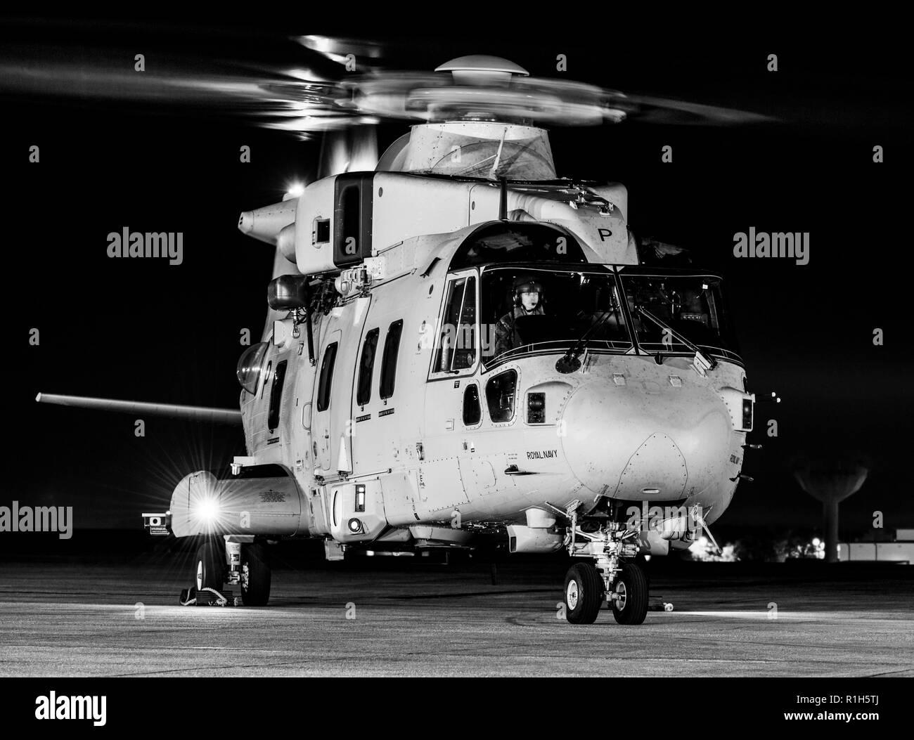 Royal Navy Merlin MK4 Commando Helicopter Stock Photo