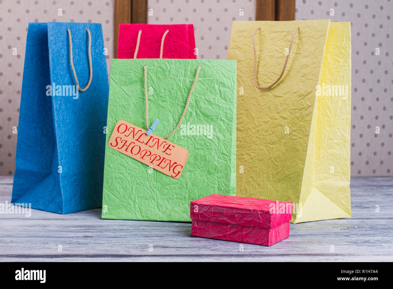 00bbe4c6 Set of multi-colored shopping bags Stock Photo: 224728396 - Alamy