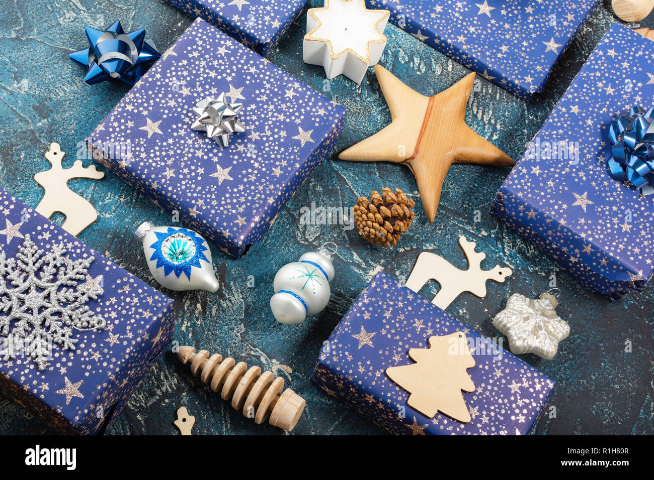 Christmas Decorations Blue Gold Baubles Stock Photos
