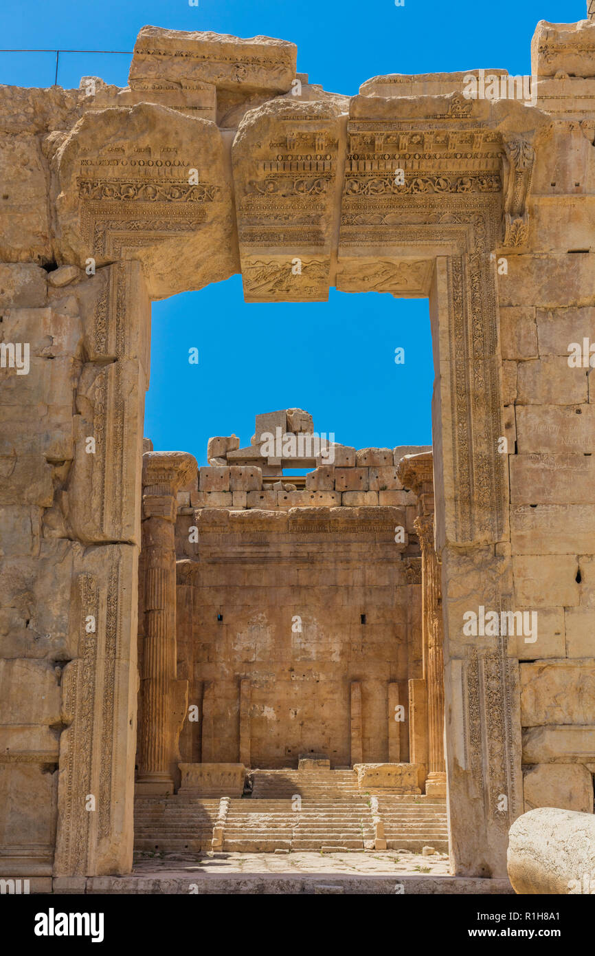 Temple of Bacchus romans ruins of  Baalbek in Beeka valley Lebanon Middle east - Stock Image