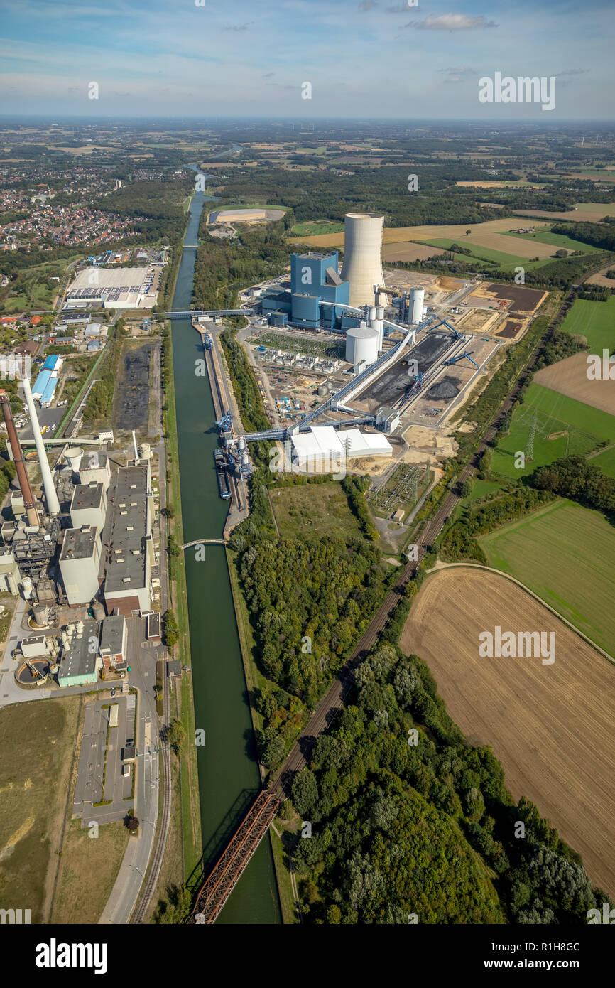 EON power plant Datteln 4, Dortmund-Ems Canal, Datteln, Ruhr area, North Rhine-Westphalia, Germany - Stock Image
