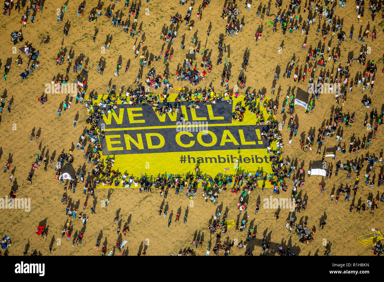 Many people on large-scale demonstration with Banner We will end coal, against the clearing of the Hambach forest, lignite area - Stock Image