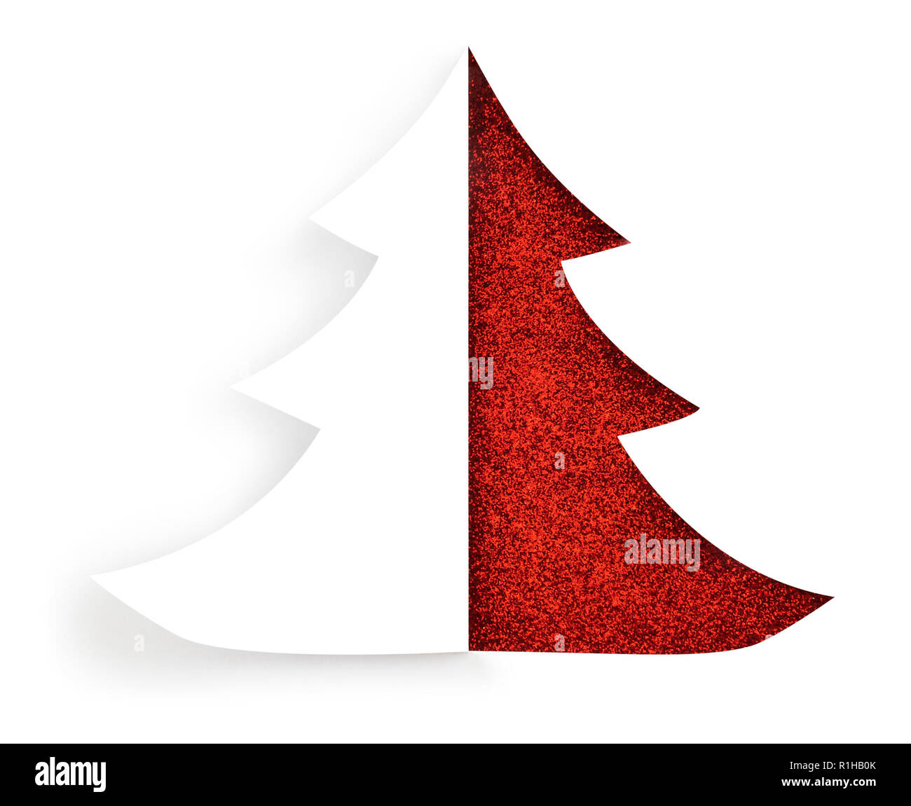 Isolated christmas glittering tree cut out design on a white background