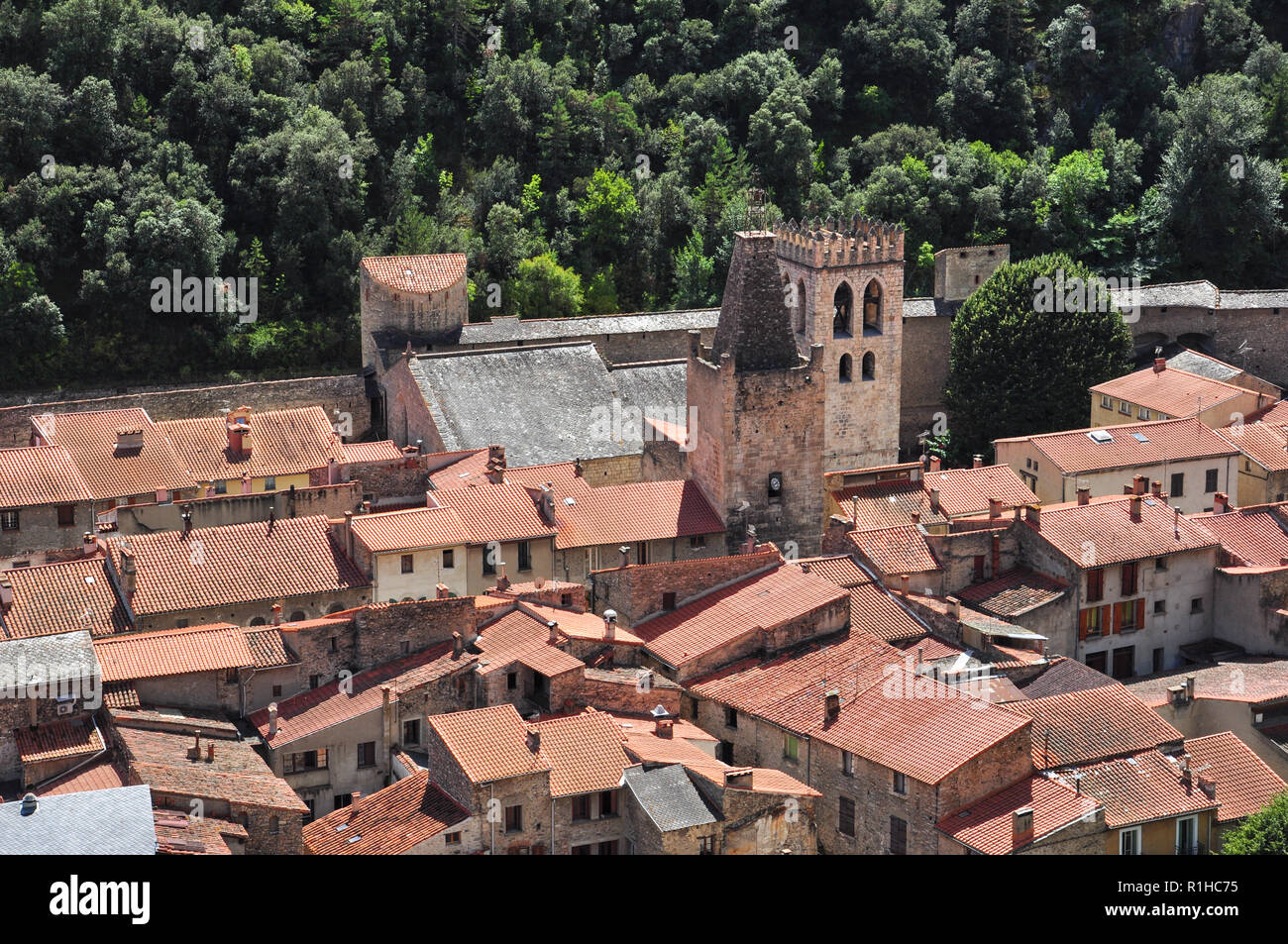 Overview of the village of Villefranche-de-Conflent (from Fort Liberia), Pyrenees-Orientales, Occitanie, France - Stock Image