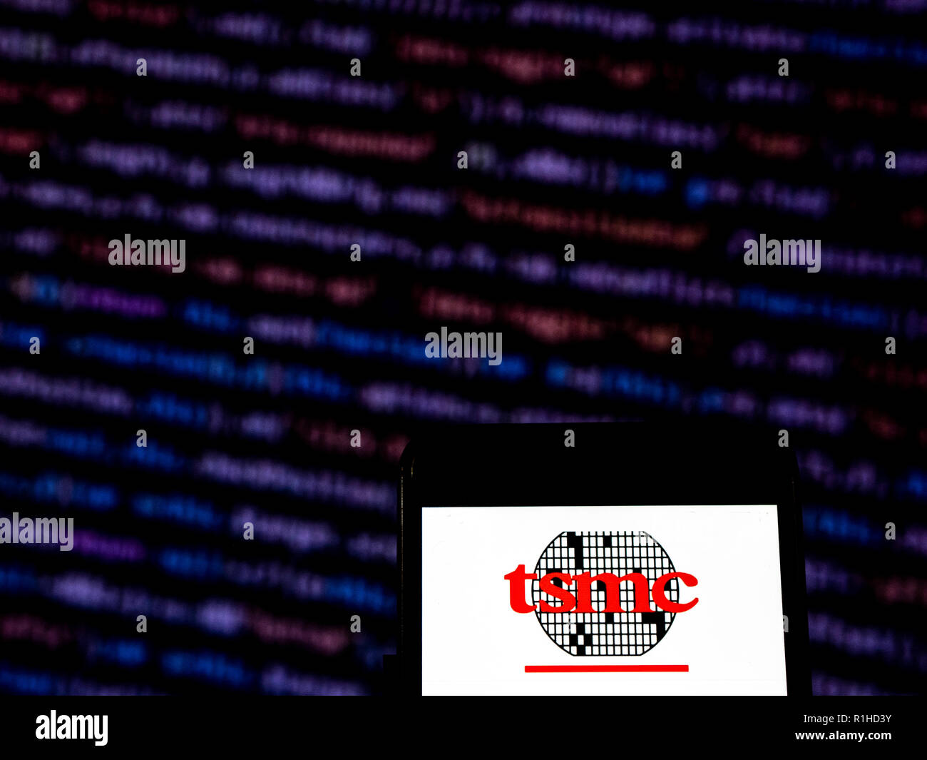 TSMC logo seen displayed on smart phone  Taiwan