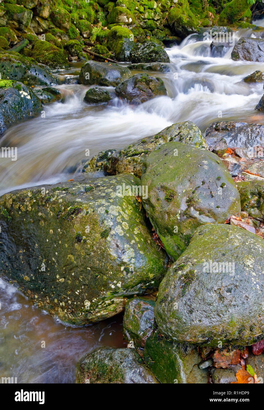 A close up view of Launchy Gill river as it tumbles towards Thirlmere in the English Lake District. - Stock Image