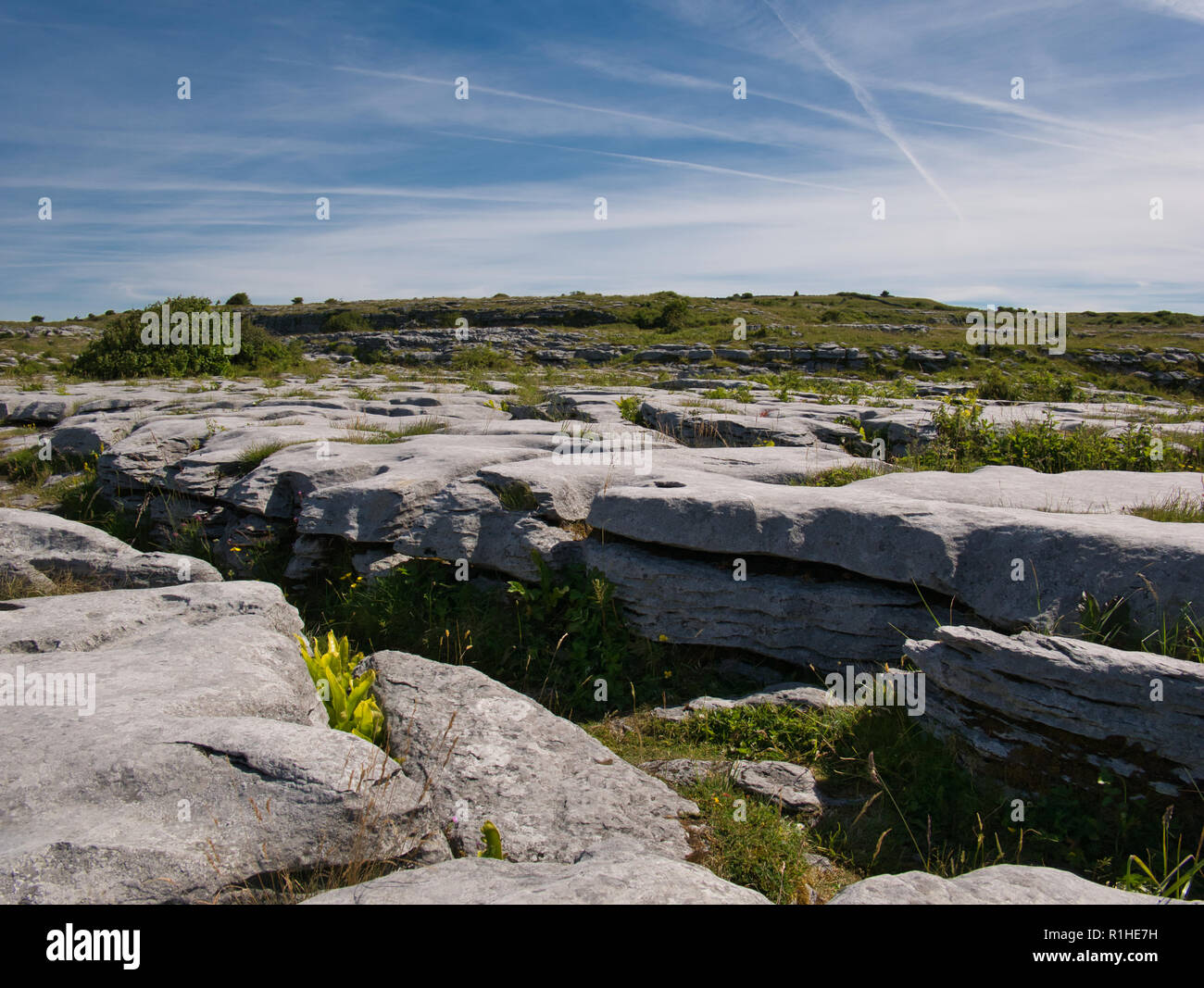 The rocky landscape in Ireland near Poulnabrone in fine weather Stock Photo