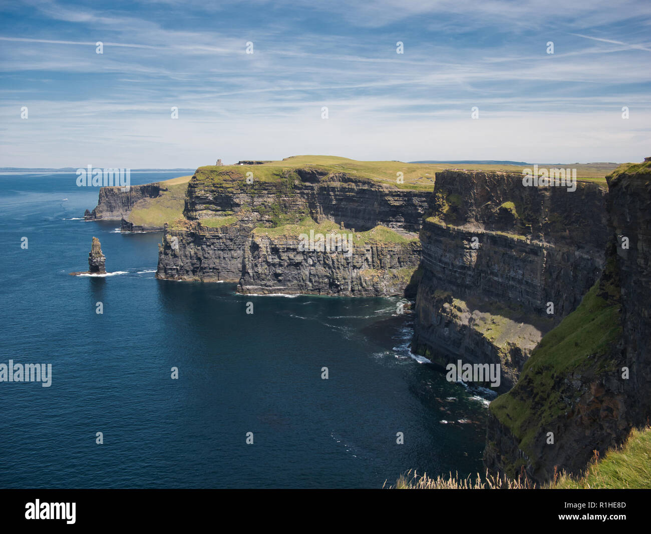 The steep cliffs of the Cliff of Moher on the southwest coast of Ireland Stock Photo