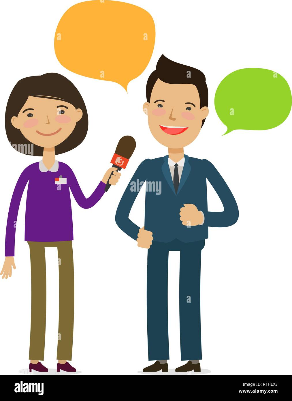 Journalist take interview. Press Conference, Broadcasting reportage concept. Cartoon vector illustration - Stock Image