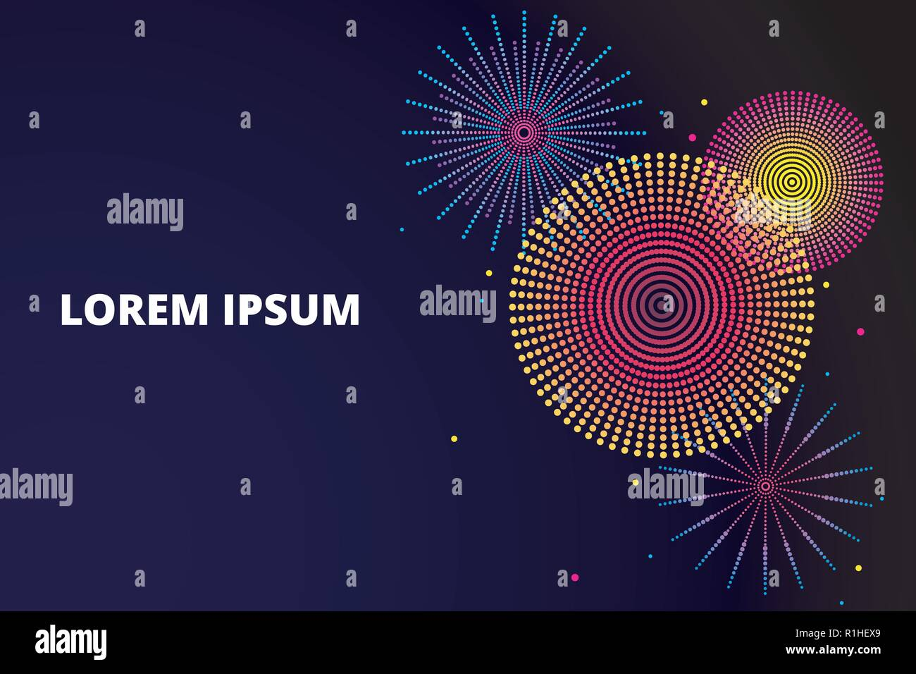 festive fireworks background vector illustration in flat style