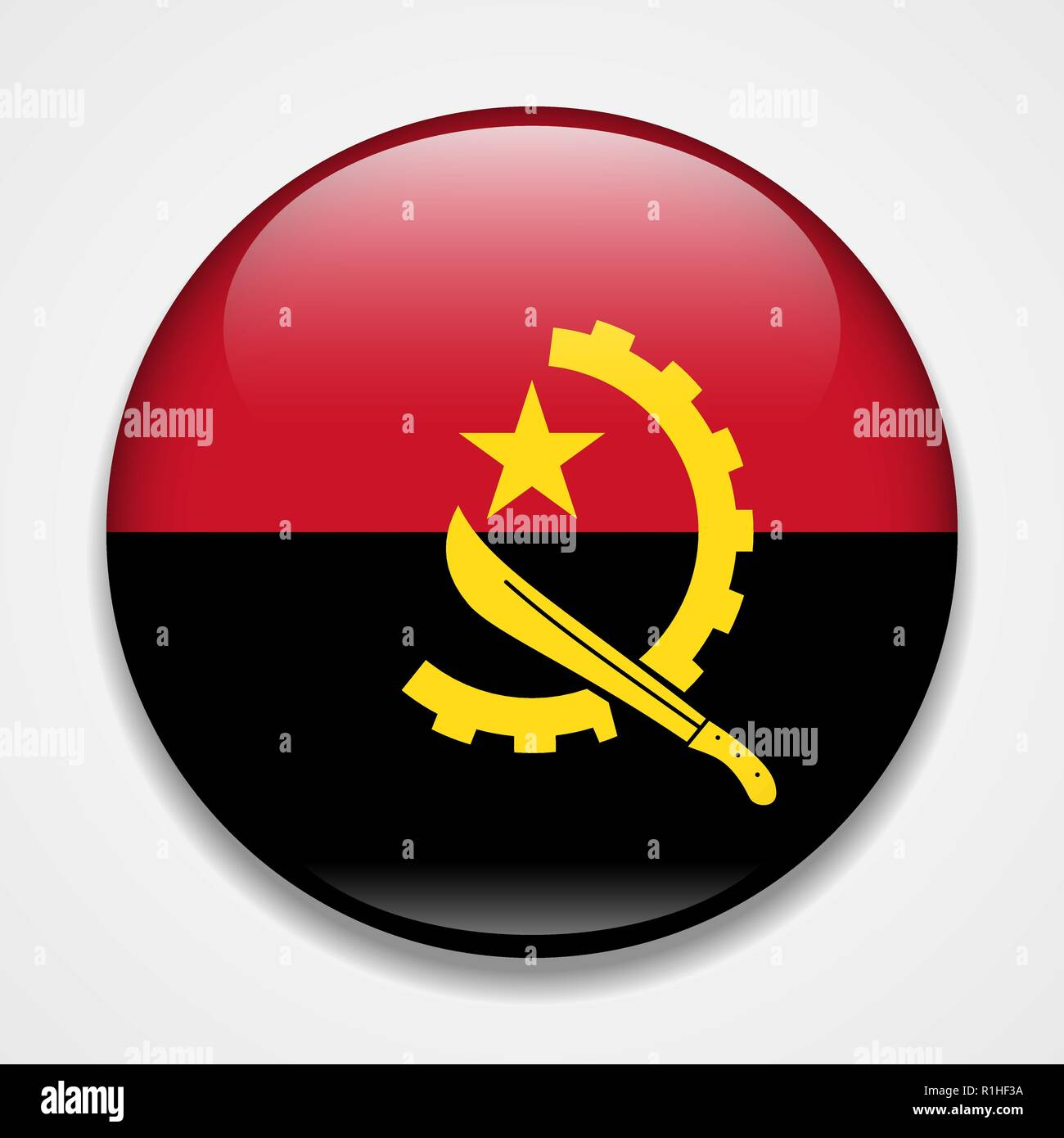 Flag of Angola. Round glossy badge - Stock Vector