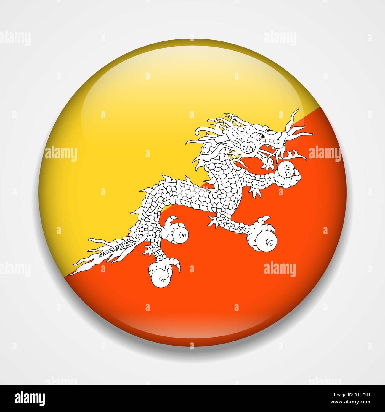 Flag of Bhutan. Round glossy badge - Stock Vector