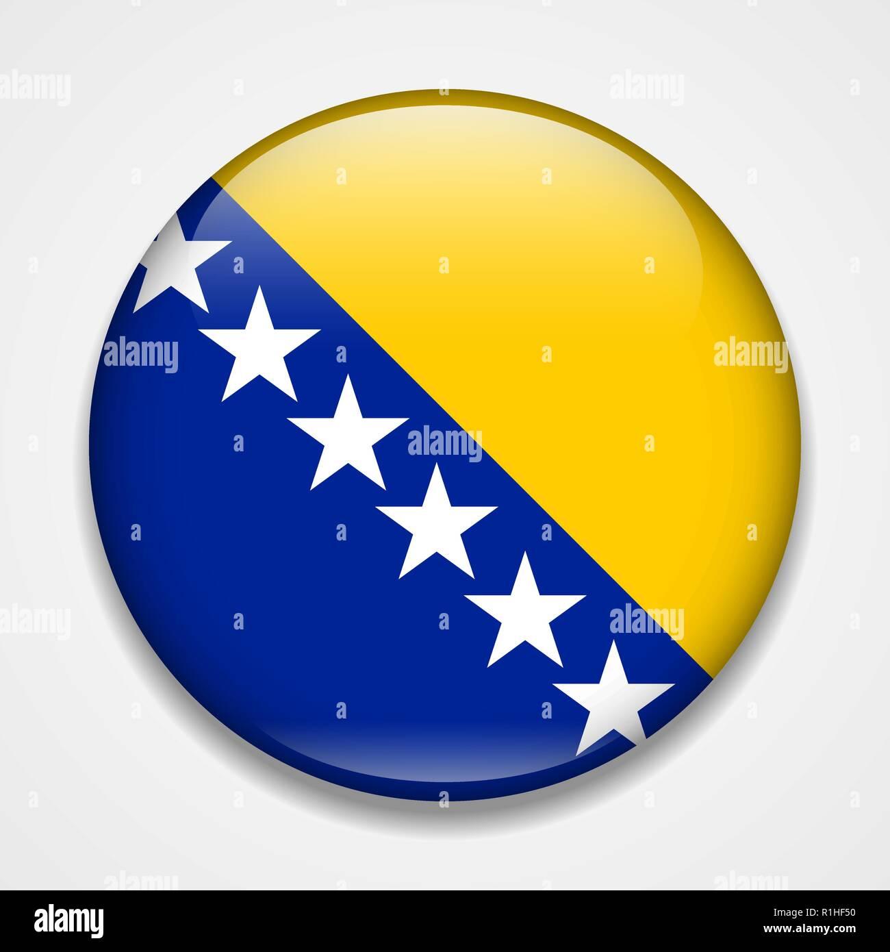 Flag of Bosnia and Herzegovina. Round glossy badge - Stock Vector