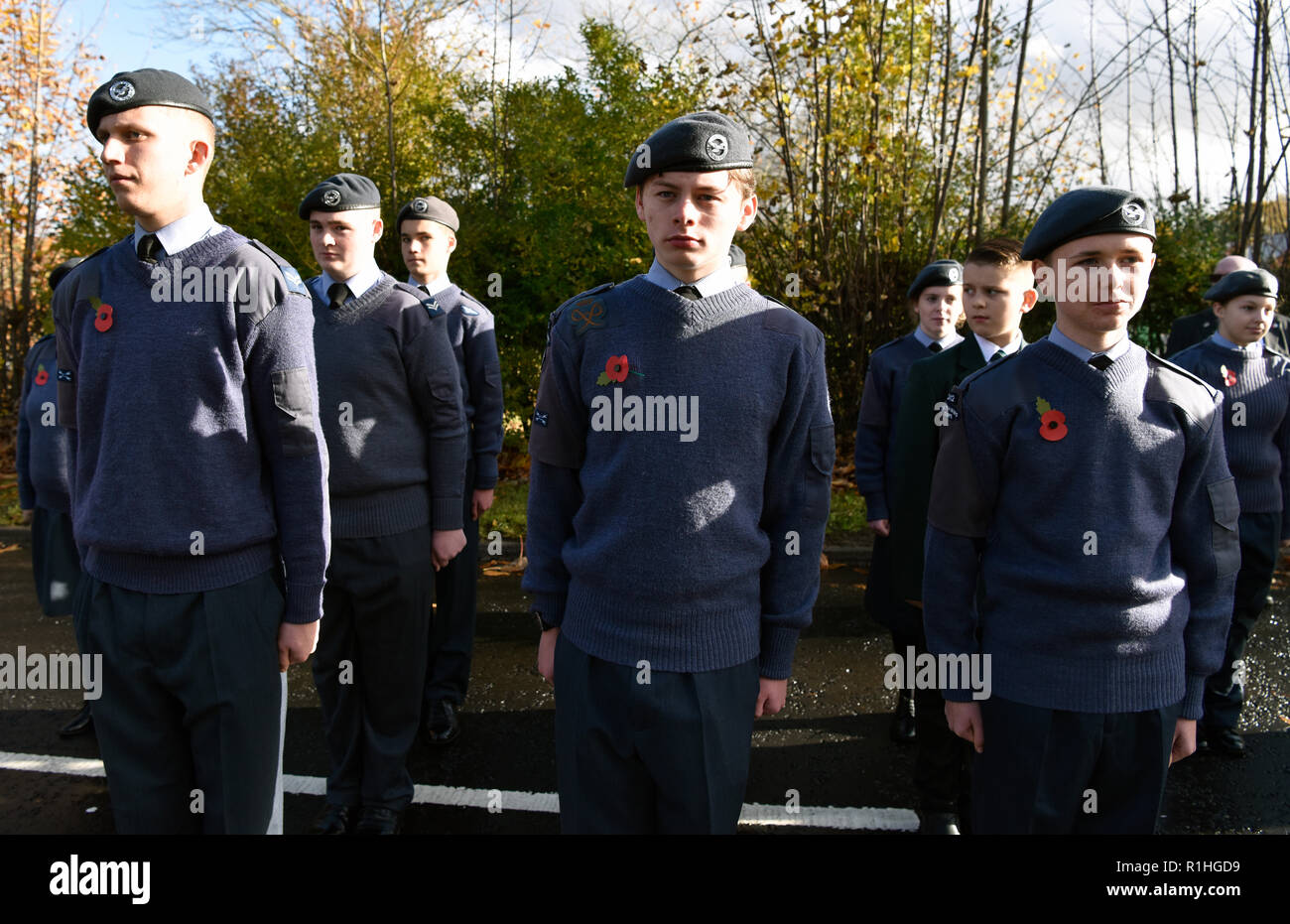 Air Training Corps on parade during Remembrance Sunday, War Memorial, Bordon, Hampshire, UK. 11.11.2018. - Stock Image