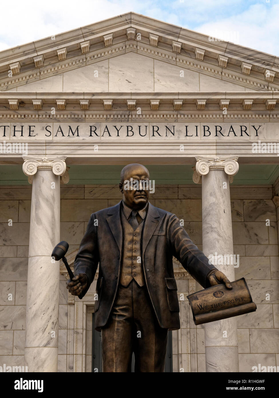 A statue of Speaker Sam Rayburn looms infront of his memorial in Bonham, Texas. He guided the most important legislation in the 20th century through Congress. - Stock Image