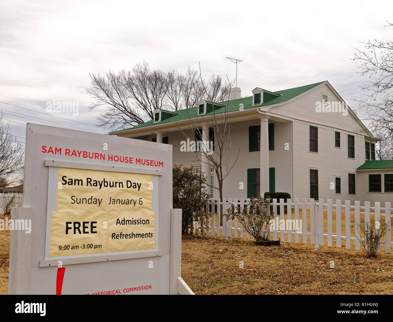 Bonhom, Tex - Home of longest running Speaker of the House Sam Rayburn has museum where he lived with his mother and the Library. Rayburn helped Texas and get the federal government involved in fighting industry. Free admission on his birthday. - Stock Image