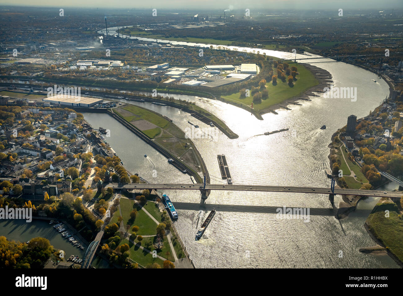 Aerial View, Ruhr estuary, Rhine-Herne Canal, Rhine Orange, river, estuary, Ruhr, Rhine, Ruhr place, Homberger bridge, backlight, low tide, water refl Stock Photo
