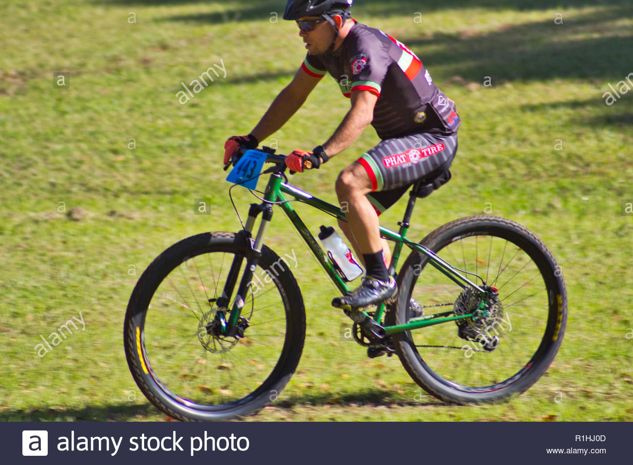 Mountain bike racers on a sunny day in Arkansas - Stock Image