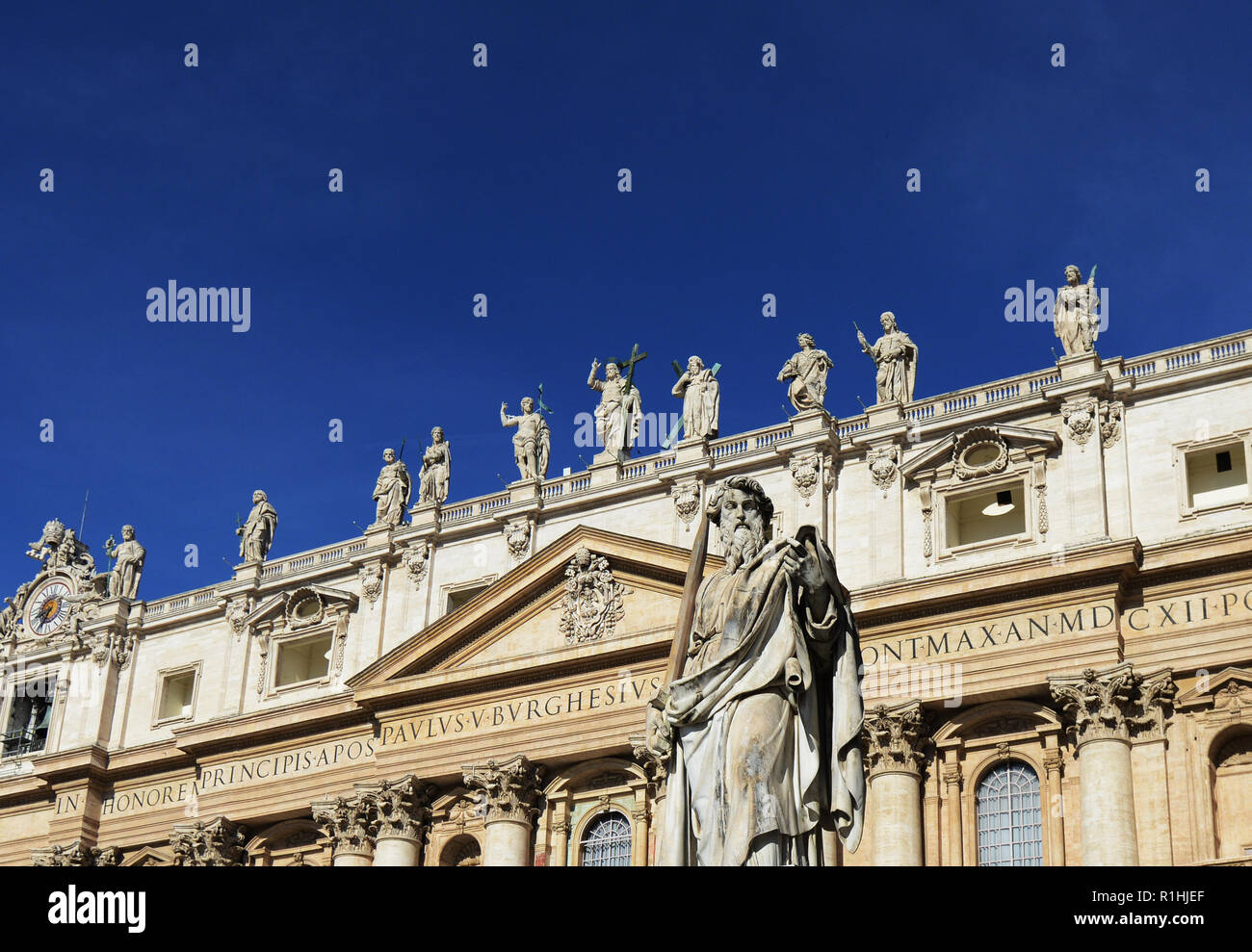 Statue of St. Paul with sword at the Vatican in front of St. Peter's Basilica in Rome, Italy Stock Photo