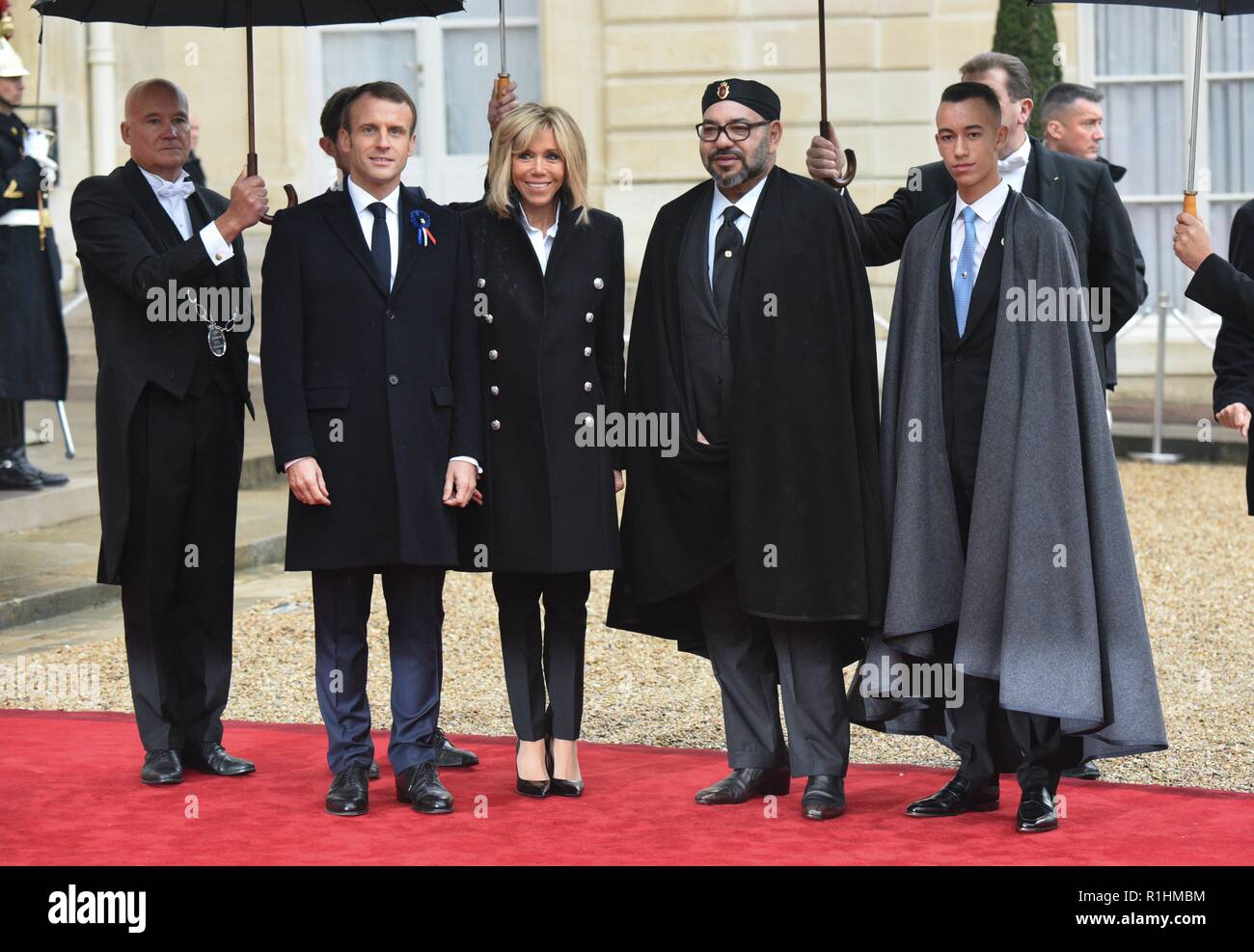 November 11 2018 Paris France French President Emmanuel Macron L And His Wife Brigitte Macron Pose
