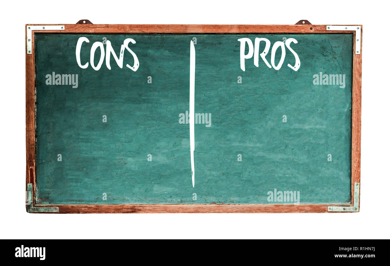 pros and cons text words in white written on wide green old grungy