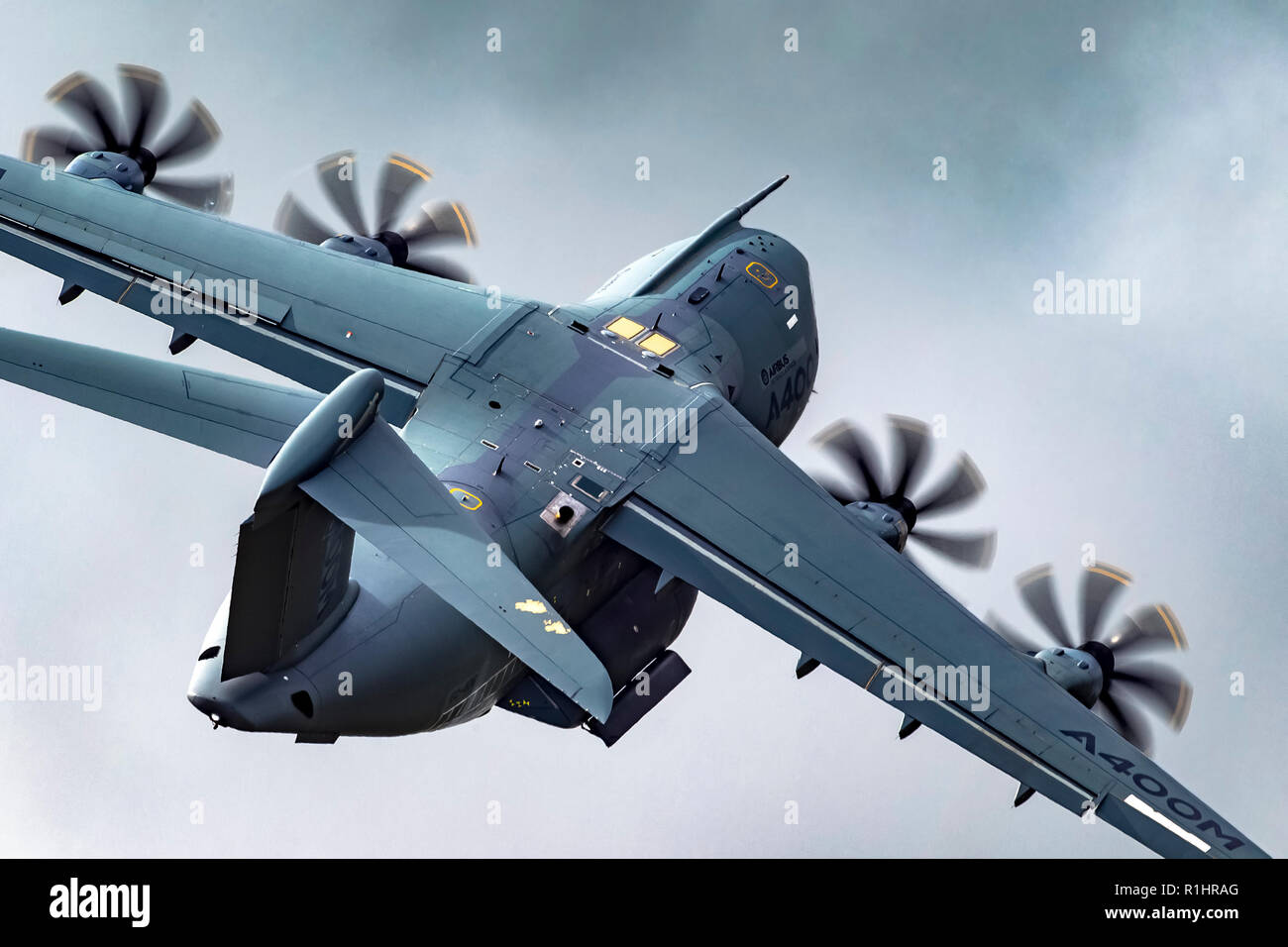 Airbus A400M Atlas is a European, four-engine turboprop military transport aircraft. It was designed by Airbus Military (now Airbus Defence and Space) - Stock Image